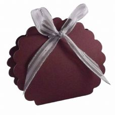 Maroon Scalloped Clam Designer Favour Boxes
